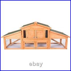 Rabbit Hutch Large Bunny House Wooden Chicken Coop with 2 Run Ramp Outdoor Wood
