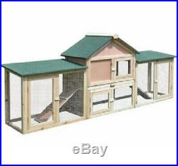 Rabbit Hutch Large With Outdoor Run Wooden Cosy Enclosure Weather Resistant