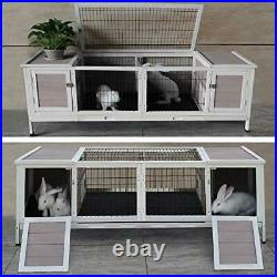 Rabbit Hutch Wood with Run, Wooden Small Animal Hutch Indoor for Rabbits Chicks