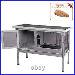 Rabbit Hutch Wooden Bunny Cages with Deeper Leak proof Tray with Metal Wire Pan