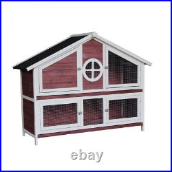 Rabbit Hutch Wooden House Purple Chicken Coop for Small Animals
