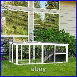 Rabbit Hutch Wooden Small Animal Cage Pet Run Cover Indoor Outdoor Chinchilla UK