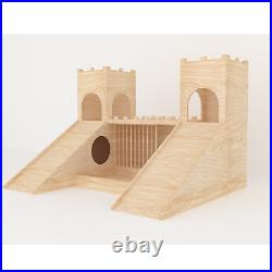 Rabbit Two Towers Turrets With Feeder & Drinking Station Wooden House Shelter