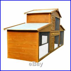 Rabbit Wooden Hutch Guinea Small Animal House Large Cat Cage Pen Built In Run