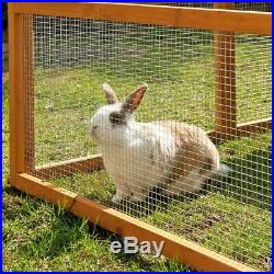 Rabbit Wooden Run Large Open Air Made From Weatherproof Pine Wood Mesh Roof