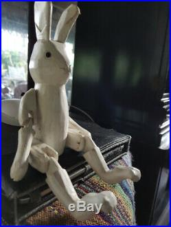 Rare Style Vintage Antique White Bunny Rabbit Doll Wooden Puppet Carved Folk Art