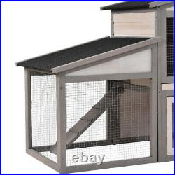 Run Ramp Bunny House Wooden Rabbit Hutch Large Chicken Coop Small Animal Cage