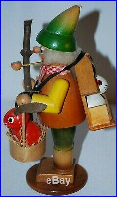 STEINBACH GERMAN VTG Wooden Incense Smoker Hiker withrabbits 8.5 VERY RARE