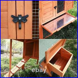 Small Wooden Chicken Coop Backyard Hen House Rabbit Hutch Enclosure Cage Poultry
