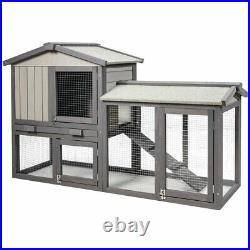 Topbuy 2-Tier Wooden Chicken Coop Bunny Cage Rabbit Hutch With Removable & Ramp