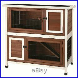 Trixie 2-Story Rabbit Hutch Wooden Habitat Home Shelter 4 Doors Durable Sturdy