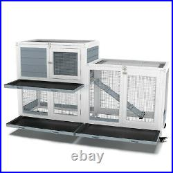 Two Floors Wooden Indoor Rabbit Cage Wheels Guinea Pig Pet House No Leak Tray