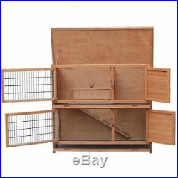 Two Floors Wooden Rabbit Hutch Animals With Pull Out Drawer + Slide Out Tray