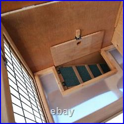 Two-Tier Elevated Wooden Rabbit Hutch Bunny Cage For Small Pet Animals House USA