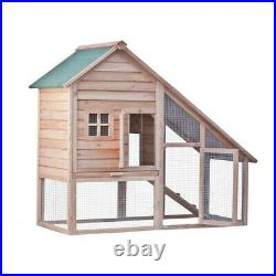Two Tier Wooden Rabbit Hutch Cage Chicken Coop House Bunny H Backyard US