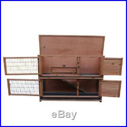USA 48 Wooden Rabbit Hutch Chicken Coop Wood Hen House Poultry Pet Cage 2 Tiers