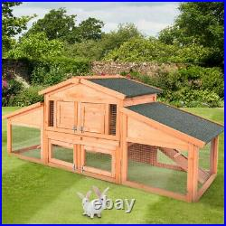 USA 70 Wooden Rabbit Hutch Bunny Cage Animal House 2 Floors Roof Top waterproof