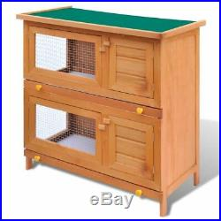 VidaXL Outdoor Rabbit Hutch Small Animal House Pet Cage 4 Doors Wood House