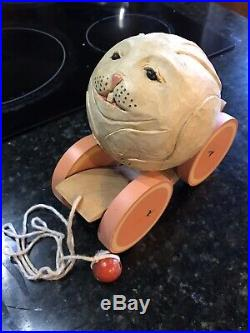 Vintage BRIERE Folk Art Wooden Pull Toy1986 Bunny Rabbit Ball & Pull Cart, #598