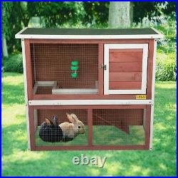 Waterproof 36 Wooden Chicken Coop Hen House Rabbit Wood Hutch Poultry Cage Red