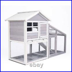 White Wooden Pet House With Slide Small Dog/Cat/Rabbit Indoor Outdoor Shelter