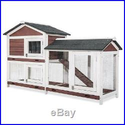 Wooden 2-layer waterproof with movable range and slide rabbit cage chicken coop