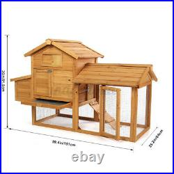Wooden Backyard Chicken Coop Hen Hutch Bunny Rabbit Cage withNesting Box Run House
