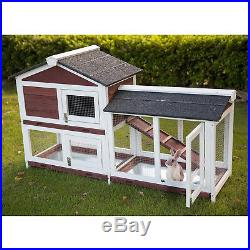 Wooden Backyard Rabbit Hutch Bunny Cage Small Animal House WithTray & Ramp