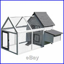 Wooden Chicken Coop 65 Hen House Rabbit Wood Hutch Poultry Cage Habitat Sturdy