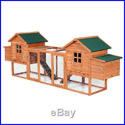Wooden Chicken Coop Dual Hen House Rabbit Wood Hutch Poultry Cage Habitat Sturdy