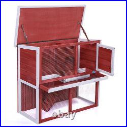 Wooden Chicken Coop Hen House 36 Rabbit Wood Hutch Poultry Cage Habitat Red