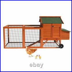 Wooden Chicken Coop Hen House Rabbit Hutch Small Animal Poultry Cage with Run Ramp