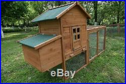 Wooden Chicken Coop Hutch Cage PET House Enclosure Outdoor Indoors With Run 80