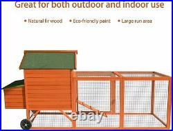 Wooden Chicken Coop Poultry House with Wheels Outdoor Rabbit Hutch with Tray