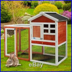 Wooden Chicken Coop Rabbit Hutch Bunny Pet House With Ladder & Run