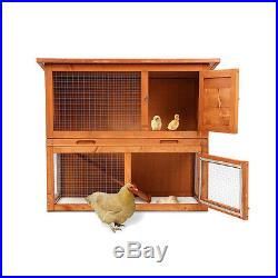 Wooden Chicken Coop Rabbit Hutch Pet Cage Wood Small Animal Poultry Cage Run