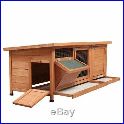 Wooden Chicken Coop Rabbit Hutch withFeeding Trough Small Animal House Pet Cage