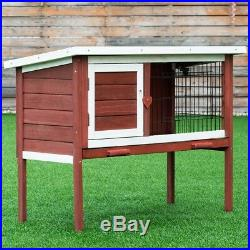 Wooden Chicken Rabbit Hutch Small Pet Animal Cage House Nesting Box with Tray US