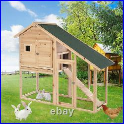 Wooden Hen Hutch Chicken Coop Rabbit Cage Backyard Small Animal Pet Large House