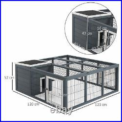 Wooden Hutch Outdoor Rabbit Cage Animal Pet Enclosure Shelter House Playpen Grey