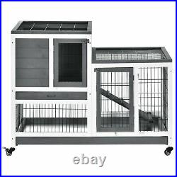 Wooden Indoor Hutch Elevated Cage with Enclosed Run Wheels for Rabbits Guinea Pig