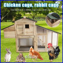Wooden/Metal Chicken Coop Rabbit Hutch Pet Hen House Cage Run Poultry Backyard Y