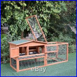 Wooden Outdoor Guinea Pig Pet House / Rabbit Hutch Small Animal Habit, 62 Inches