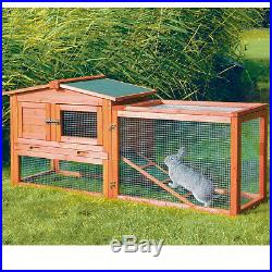 Wooden Outdoor Raised Rabbit Hutch with Run and Window for Bunny, Small Animal