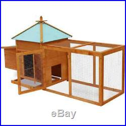 Wooden Pet House Poultry Hutch Rabbit Chicken Cage Roof Coop Outdoor Nesting Box