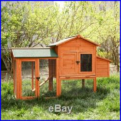 Wooden Pet House Rabbits and Chicken Hen Coop Cage 51.9 L 24.2(W) 40.5(H)'