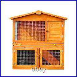 Wooden Pet Hutch Rabbit Guinea Pig Spacious 2-Story Enclosure Small Animal Cage