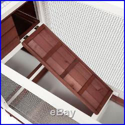 Wooden Rabbit Bunny Hutch Outdoor Chicken Coop Cage House With Run Ramp Ladder