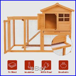 Wooden Rabbit House Hutch Chicken Coop Bunny Small Animal Cage with Tray Run
