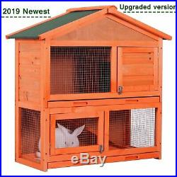 Wooden Rabbit Hutch A-Frame Pet Cage Wood House Small Animal Bunny Chicken Coop